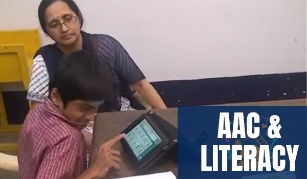 Kiran in school with Avaz AAC